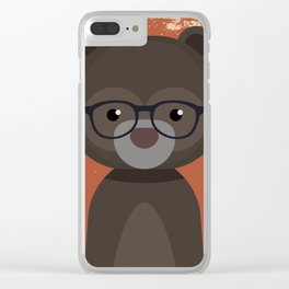 Hipster Bear Clear iPhone Case