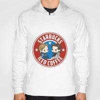 bucky barnes Hoodies featuring Starbucks - Steve Rogers and Bucky Barnes Iced Coffee  by BlacksSideshow