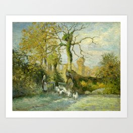 "Camille Pissarro ""The Goose Girl at Montfoucault (White Frost)"" Art Print"