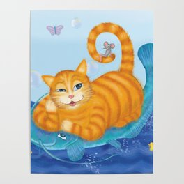 Orange tabby cat & blue catfish  Funny kids illustration Poster