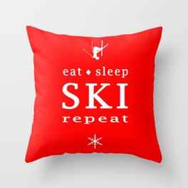 eat sleep ski repeat Throw Pillow
