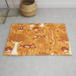 Foxes in a Forest of Fall Trees Rug
