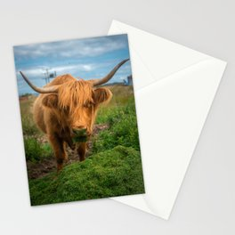 Highland Cow Eating Grass, Isle of Mull, Scotland, UK Stationery Cards