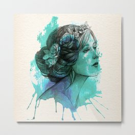 Woman with floral wreath in watercolor Metal Print