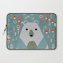 Winter pattern with baby bear Laptop Sleeve