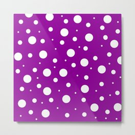 White asymetric polka dot pattern on purple, violet background, simple vintage style theme, classic Metal Print