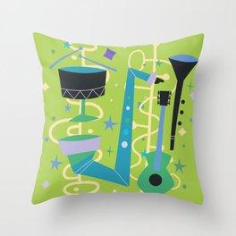 Midcentury Modern Fifties Jazz Composition Throw Pillow