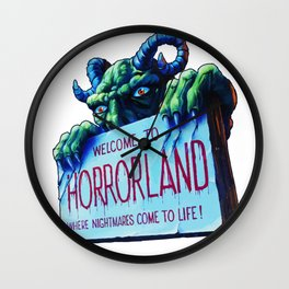 Welcome to Horrorland Wall Clock