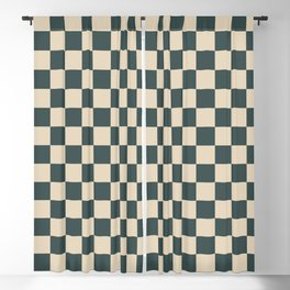 Checkerboard Pattern Inspired By Night Watch PPG1145-7 & Alpaca Wool Cream PPG14-19 Blackout Curtain