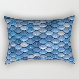 Blue Sparkling Glitter Mermaid Scales - Mermaidscales Rectangular Pillow