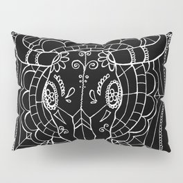 Day Of The Dead Cow Skull (Black & White) Pillow Sham