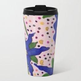 Blue Floral Polka Dots Travel Mug