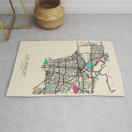 Colorful City Maps: Los Angeles, California Rug