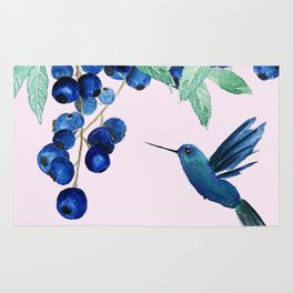 blueberry and humming bird Rug