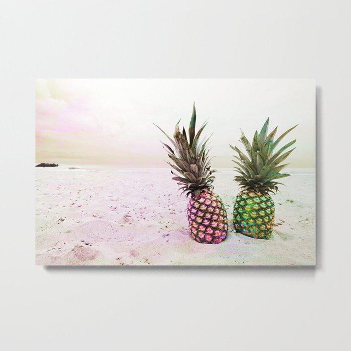 Neon Pineapples Beach Metal Print