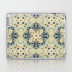 Protea Pattern in Deep Teal, Cream, Sage Green & Yellow Ochre  Laptop & iPad Skin