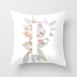 Rustic Leaves Monogram P - Watercolor Branches Design Throw Pillow
