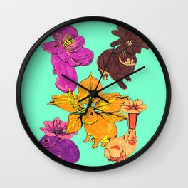 Flower Bunnies Wall Clock