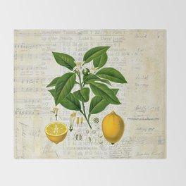 Lemon Botanical print on antique almanac collage Throw Blanket