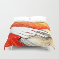 writing Duvet Covers featuring Inky hands11-Writing  by Anca Chelaru