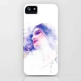 Blue Profile Girl Sketch iPhone Case