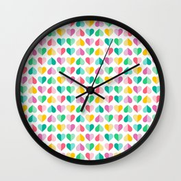 Large Pastel Love Hearts Wall Clock