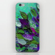 BLOOMING BEAUTIFUL 1 - Floral Painting Mint Green Seafoam Purple White Leaves Petals Summer Flowers iPhone & iPod Skin