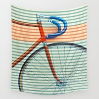 striped Wall Tapestries featuring Standard Striped Bike by Fernando Vieira