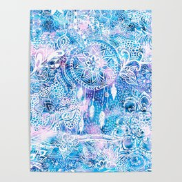 Mermaid blue turquoise watercolor boho dreamcatcher floral pattern Poster