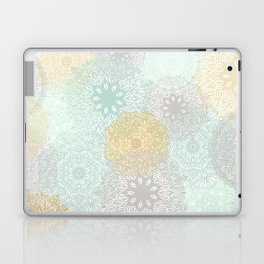 Floral Mandala Blooms Fall, Yellow, Aqua,Gray Laptop & iPad Skin