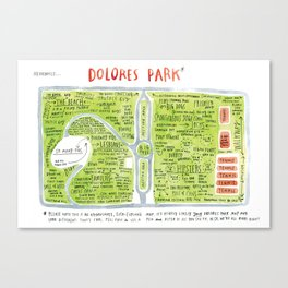 Dolores Park Map from Meanwhile in San Francisco Canvas Print