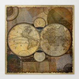 """""""Vintage paper & Maps (burlap texture)"""" Canvas Print"""