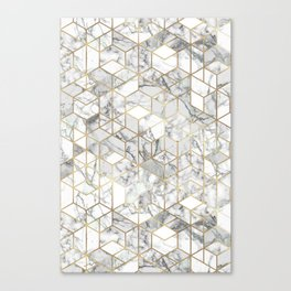 White marble geomeric pattern in gold frame Canvas Print