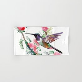 Flying Hummingbird and Red Flowers Hand & Bath Towel