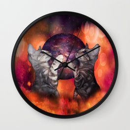 The Silver Marble Oracle Kitty Cats of the Kittyverse Wall Clock