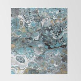 Turquoise White Gold Faux Marble Granite Throw Blanket