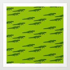 Alligators-Green Art Print