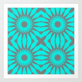 Turquoise & Gray Pinwheel Flowers Art Print