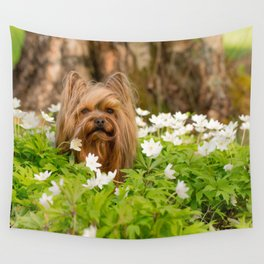 Summer Vibes - Small Yorkie Dog In Spring Forest #decor #society6 #buyart Wall Tapestry