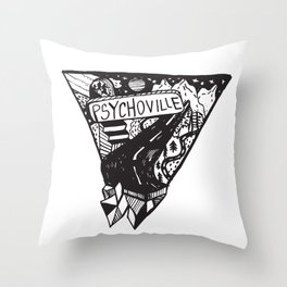Psychoville black ink drawing Throw Pillow