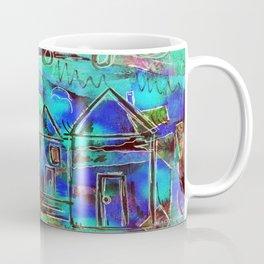 Neon Blue Houses Coffee Mug