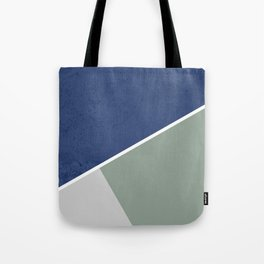 Navy Sage Gray Geometric Tote Bag