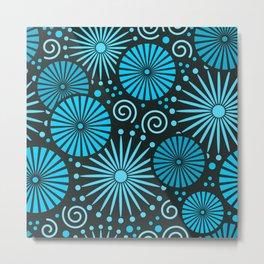 Blue retro abstract Metal Print
