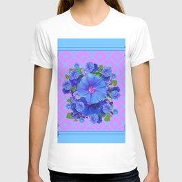 Baby Blue-Lilac Pattern Morning Glories Art T-shirt