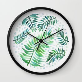 Watercolor round leaves Wall Clock