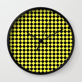 Black and Electric Yellow Diamonds Wall Clock