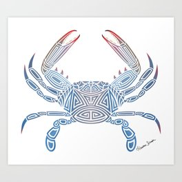 Tribal Blue Crab Art Print