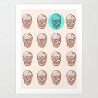 skulls Art Prints featuring skulls  by Ginger Pigg Art & Design