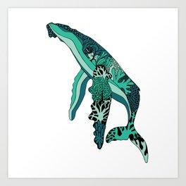 Coral Reef Humpback Whale Art Print