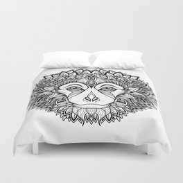 MONKEY head. psychedelic / zentangle style Duvet Cover
